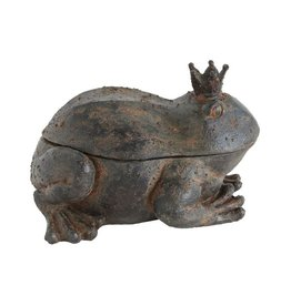 "Creative Co-op 9.5"" L Resin Frog w/Crown Box"