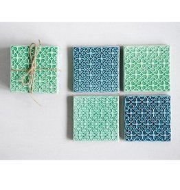 Creative Co-op Set of 4 Tile Ceramic Coasters