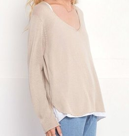 Wooden Ships Shirt Tail Cotton V-Neck Sweater