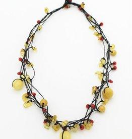 Nusantara Wax Linen Stone Chip Necklace