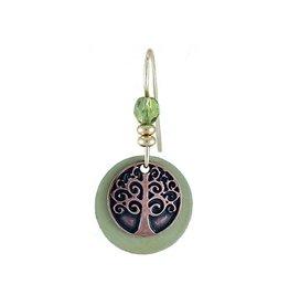 Earth Dreams Copper Tree of Life Earrings, Green Disc