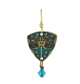 Earth Dreams Dragonfly Triangle Earrings, Blue