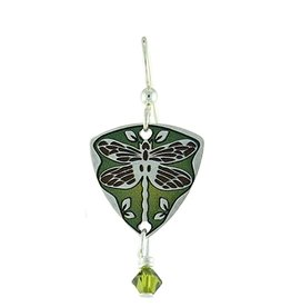 Earth Dreams Dragonfly Triangle Earrings, Green