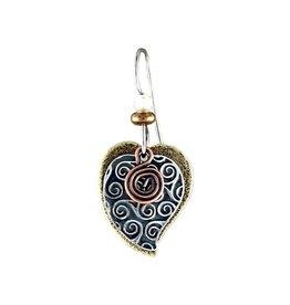 Earth Dreams Silver, Brass & Copper Heart Earrings