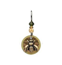 Earth Dreams Brass Bee Hammered Disc Earrings