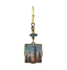 Earth Dreams Square Northern Lights Earrings, Blue