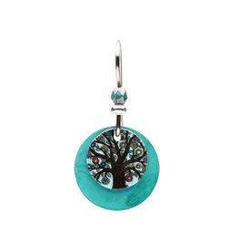 Earth Dreams Tree of Life Disc Earrings, Blue