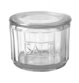 "Creative Co-op 4-1/2"" Round Pressed Glass Salt Cellar"