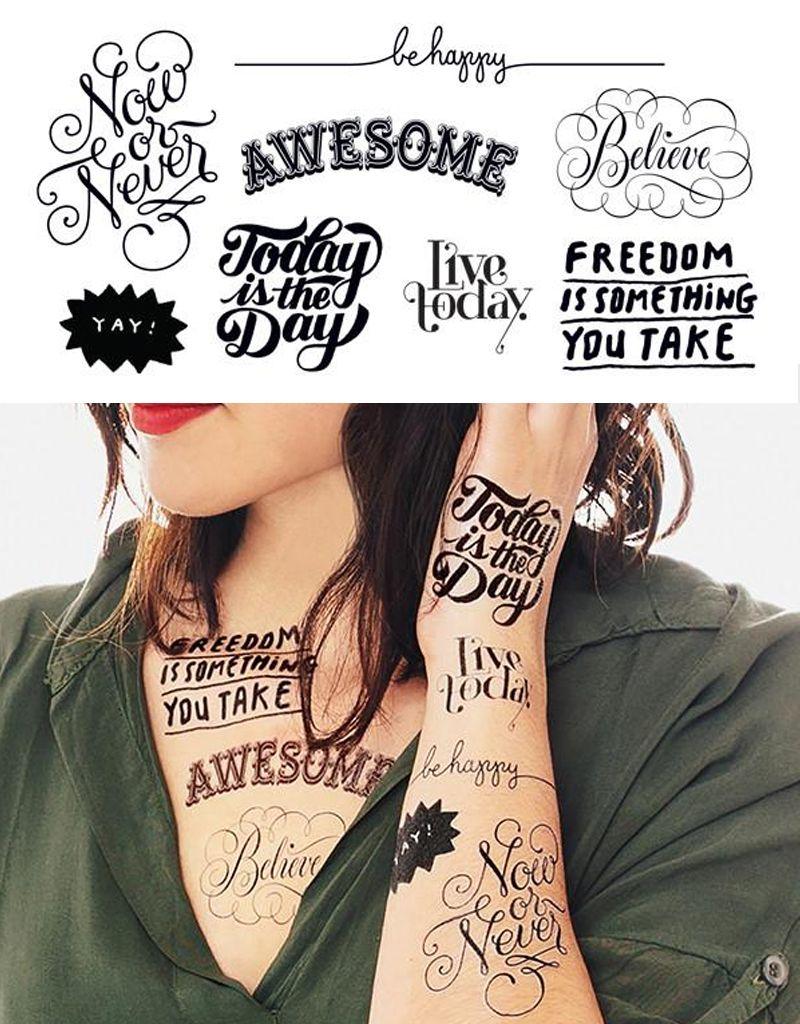 Tattly Inspirational Tattoo Set