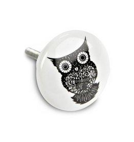Abbott Owl motif B W Ceramic Knob