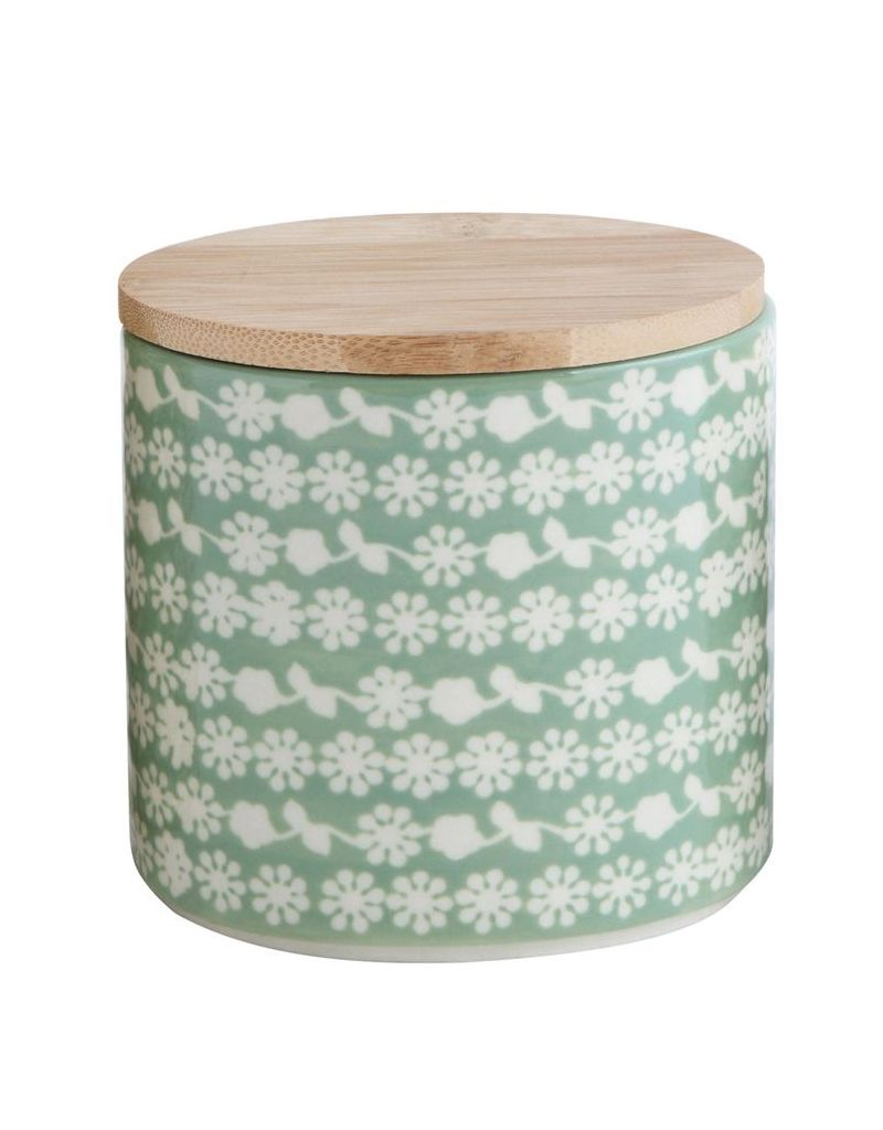 Creative Co-op Hand Stamped Stoneware Canister bamboo Lid
