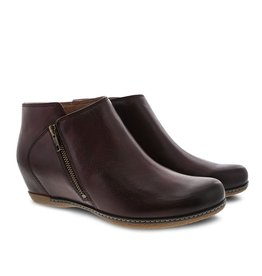Dansko Leyla Wine Burnished Calf Bootie