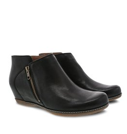 Dansko Leyla Black burnished Nubuck Bootie