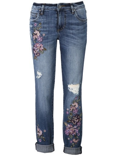 Kut from the Kloth Catherine Boyfriend 5 Pocket Jeans w/ Embroidery