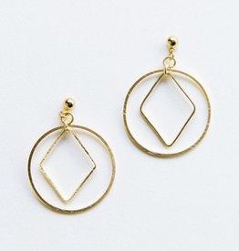 Mata Traders Gold Diamond Hoop Studs