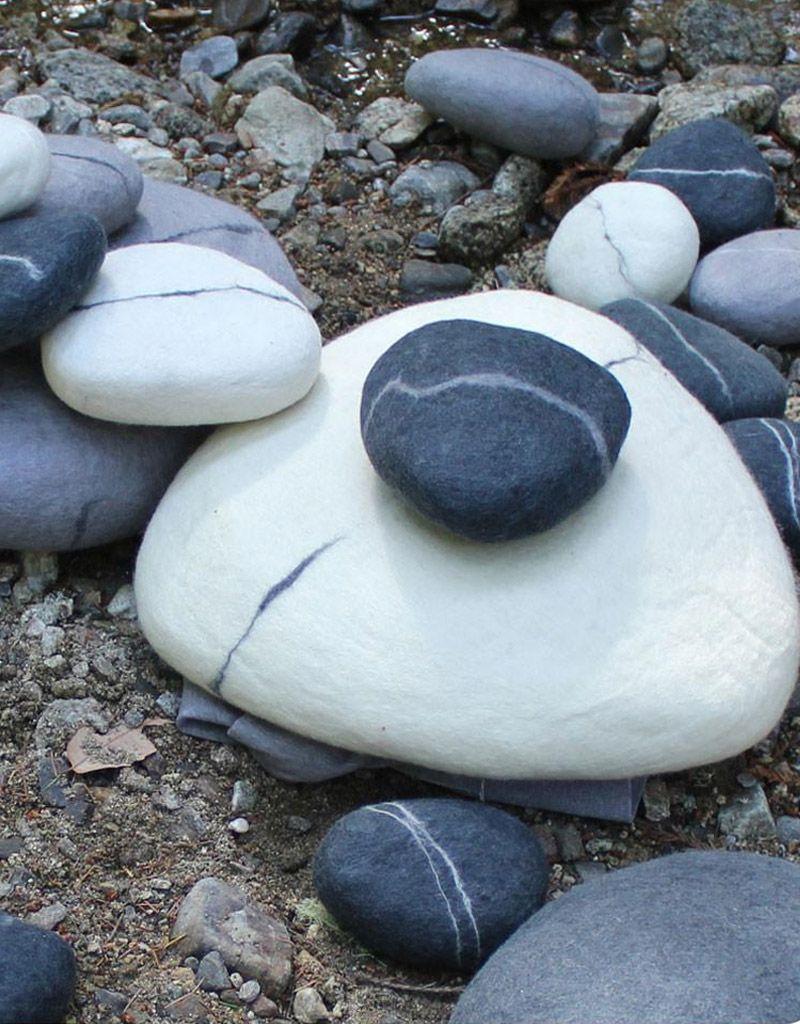 Zig Zag Small Felted Wool Zen Stone Pebble