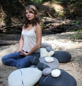 Zig Zag Medium Felted Wool Zen Stone Pebble