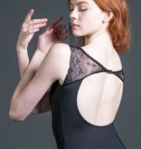 W/S Adult Apparel Streamline illusion neck leotard with lace flutter sleeves