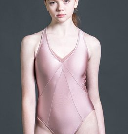 W/S Adult Apparel Symmetry halter leotard with detailed seaming and cross back