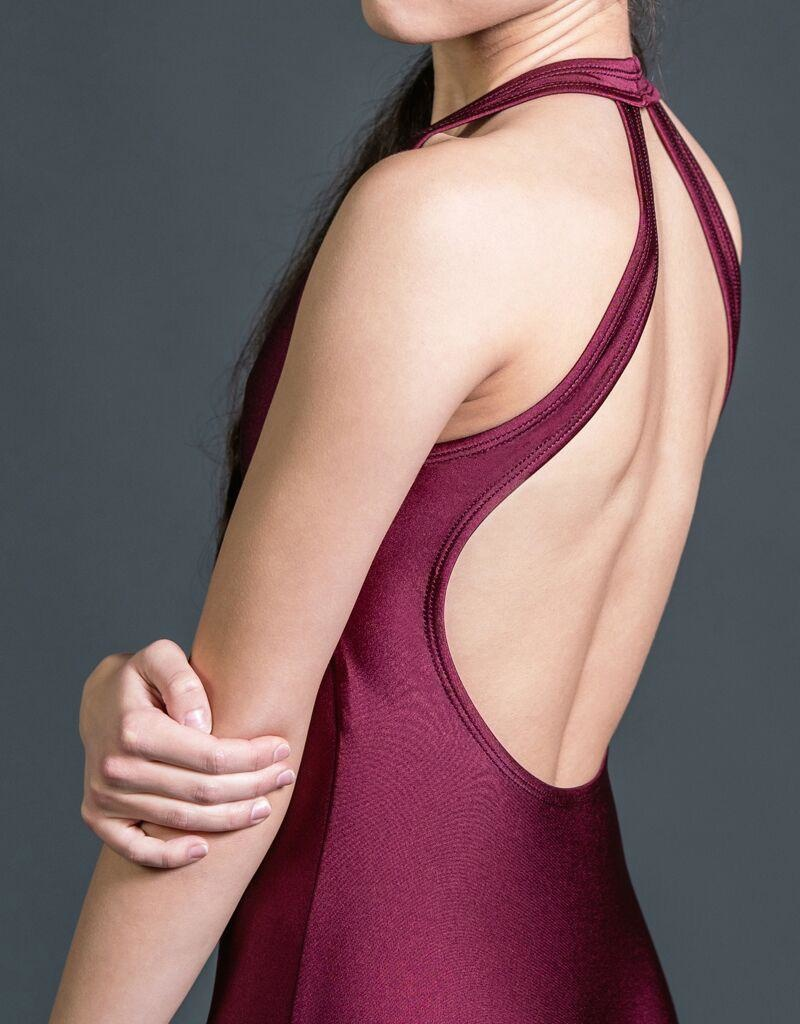 W/S Adult Apparel Symmetry halter leotard with pinch front