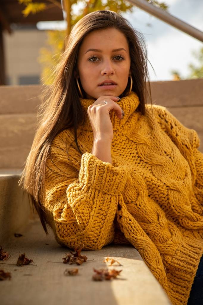 Mustard Turtleneck Cable Knit Sweater Urbane South