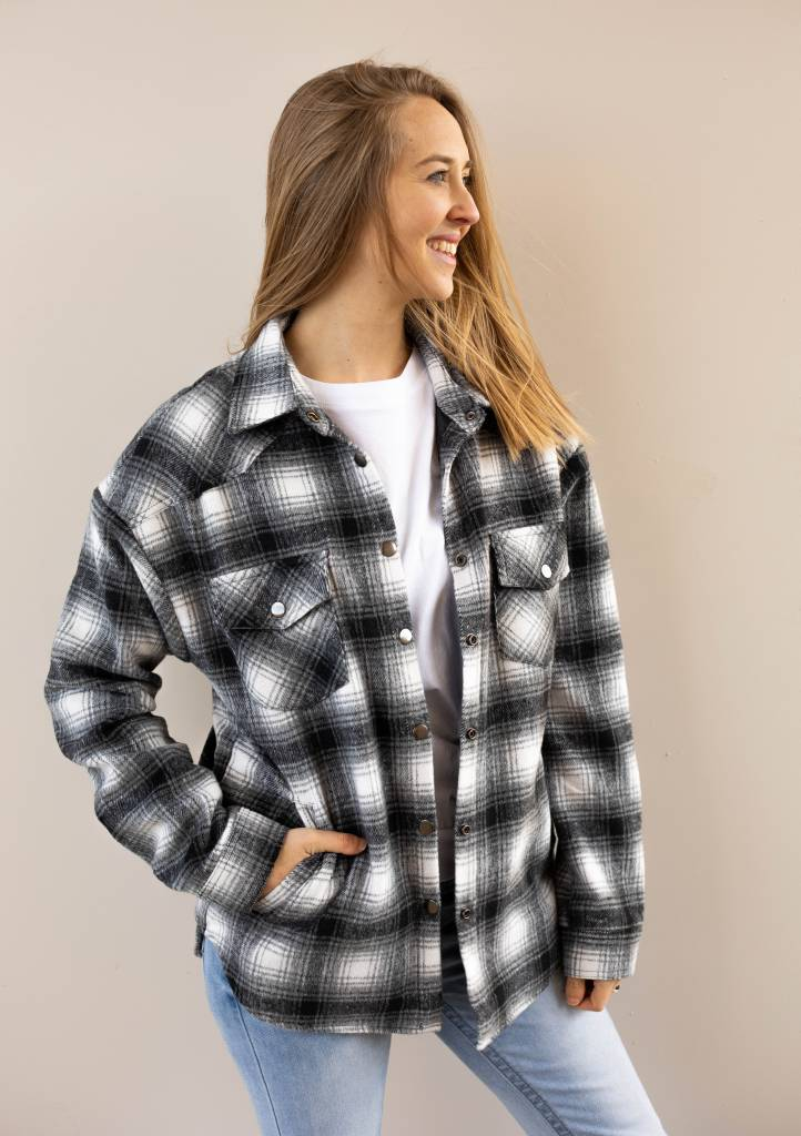 COLLARED CHEKERED FLANNEL JACKET W/PADDED LINING