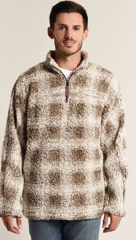 TRUE GRIT TIP SHEARLING BOX PLAID 1/4 ZIP PULLOVER