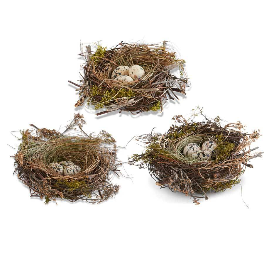 TWIG NEST WITH BROWN SPECKLED EGGS AND GRASS