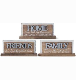"""ASSORTED 8.75"""" WOOD TABLETOP SIGN WITH TIN CUTOUT"""