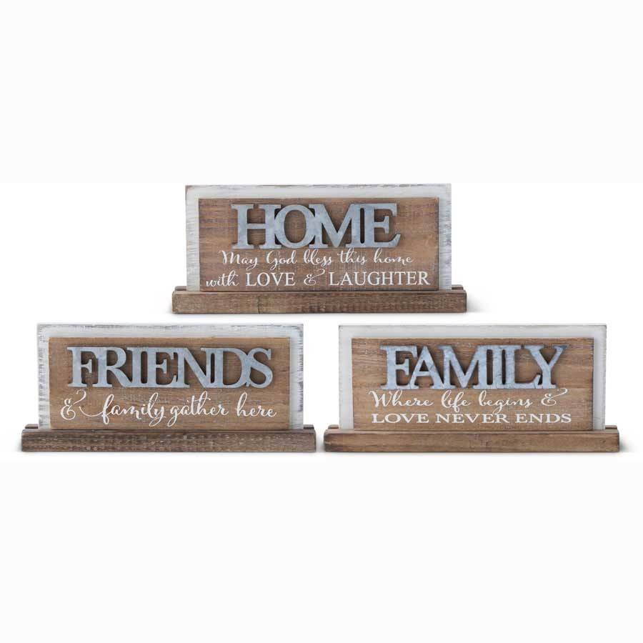 "ASSORTED 8.75"" WOOD TABLETOP SIGN WITH TIN CUTOUT"
