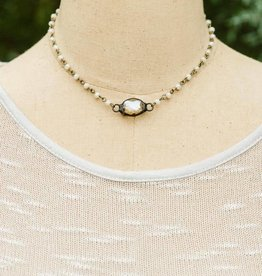 CRYSTAL BALL IRON WORKS NECKLACE- WHITE