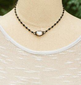 CRYSTAL BALL IRON WORKS NECKLACE- BLACK