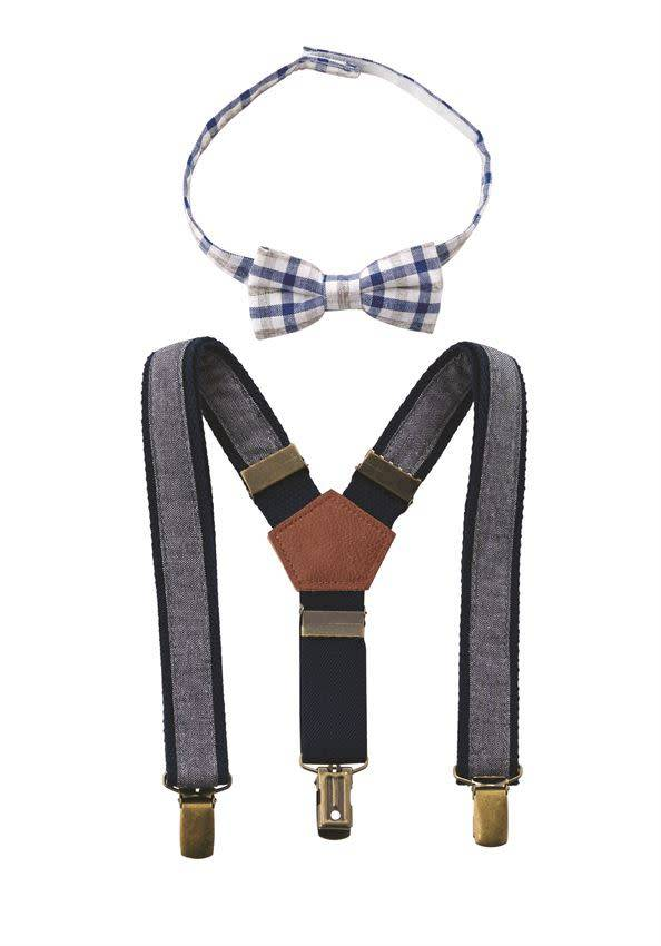 MUD PIE CHAMBRAY BOWTIE SUSPENDER SET