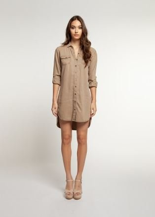 DEX ROLLED SLEEVES BUTTON FRONT TUNIC
