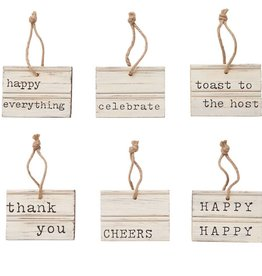 MUD PIE CHEERS CARVED WOOD TAG