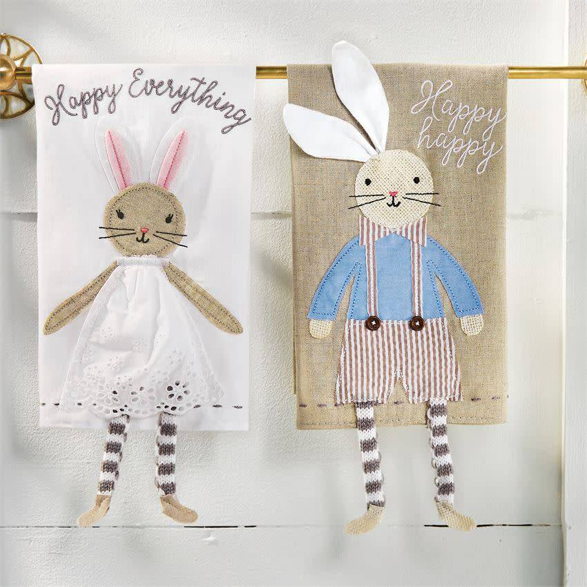 MUD PIE BUNNY DANGLE LEG TOWEL