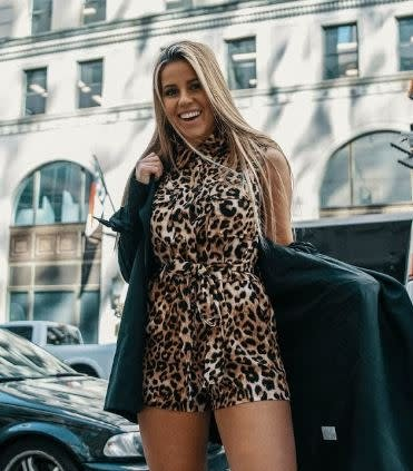 HONEY PUNCH LEOPARD PRINT ROMPER