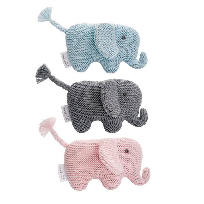 MUD PIE KNIT ELEPHANT RATTLE