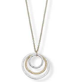 CANVAS CLAIRE NESTED PENDANT NECKLACE IN WORN GOLD & WORN SILVER