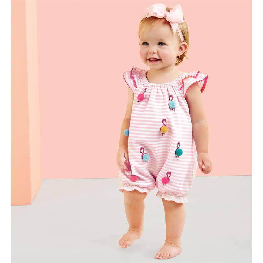 MUD PIE FLAMINGO POM BUBBLE 12-18 MONTHS