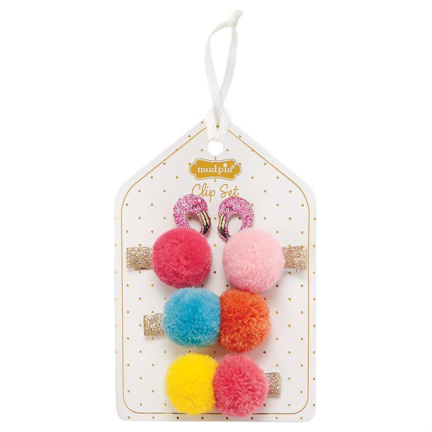 MUD PIE FLAMINGO AND POM POM CLIP SET