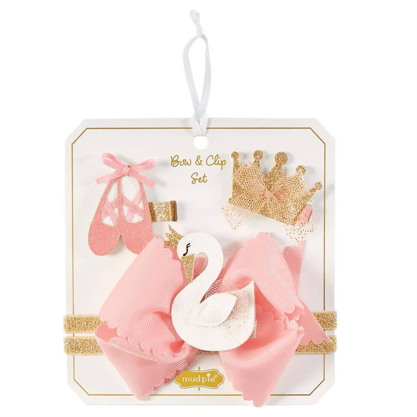 MUD PIE SWAN 3 IN 1 BOW SET