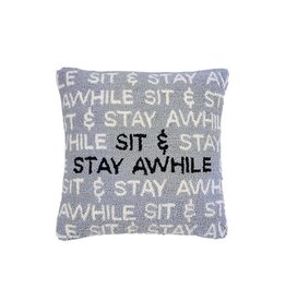 MUD PIE SIT AND STAY AWHILE HOOKED PILLOW