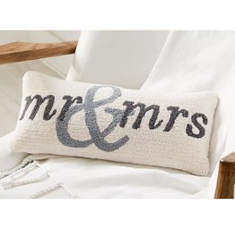 MUD PIE MR AND MRS HOOKED PILLOW