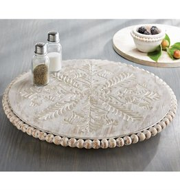 MUD PIE CARVED & BEADED LAZY SUSAN