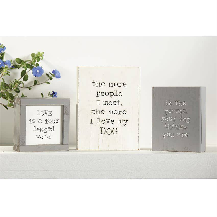 MUD PIE ENGRAVED WOOD DOG PLAQUES