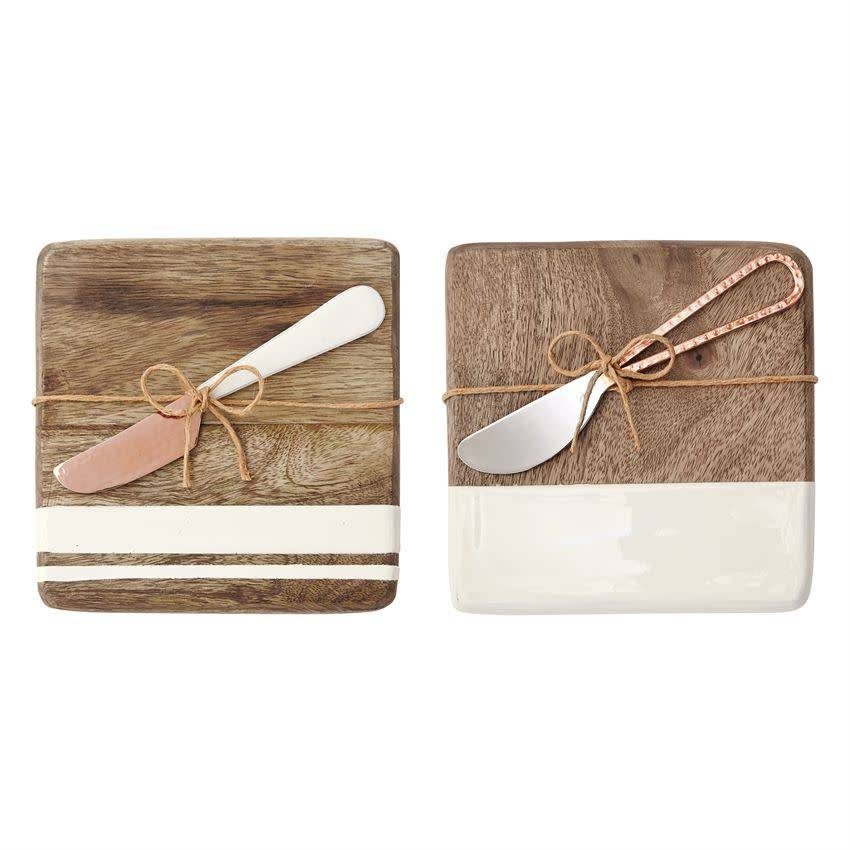 MUD PIE WOOD & ENAMEL BAR BOARD SET