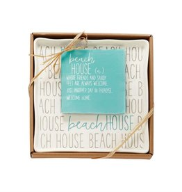 MUD PIE BEACH HOUSE BOXED PLATE & NAPKIN SET