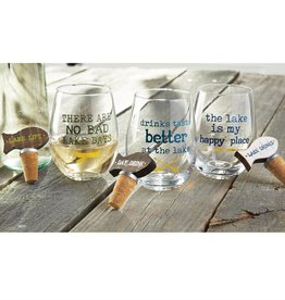 MUD PIE LAKE STEMLESS WINE GLASS & TOPPER SET