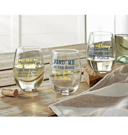 MUD PIE PORCH STEMLESS WINE GLASS
